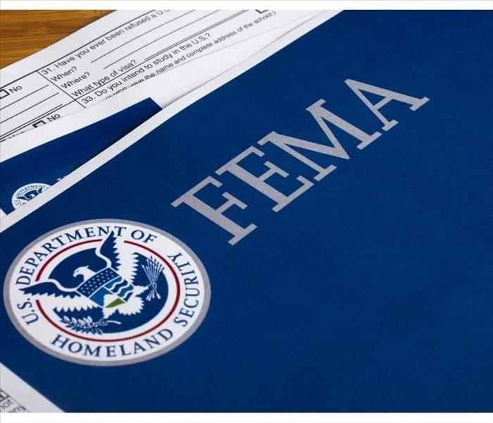 Blue paper with FEMA title and U.S Department of Homeland Security Logo